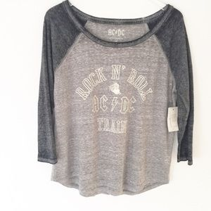 NWT!! Lucky Brand | AC/DC 3/4 Sleeve Burnout Top